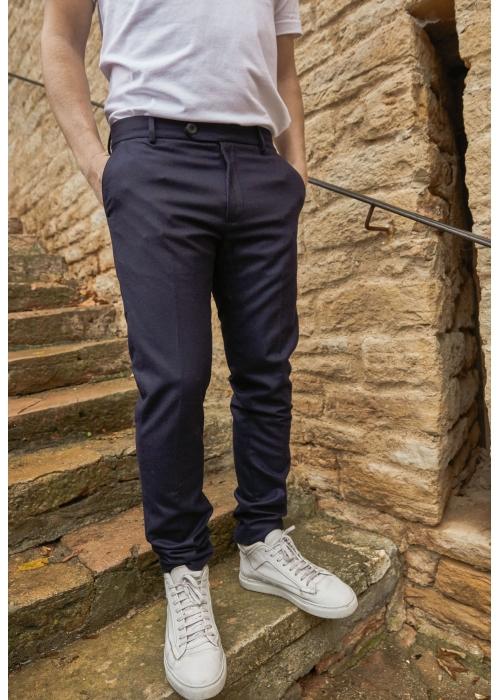 Pantalon Relax Navy 100% Laine