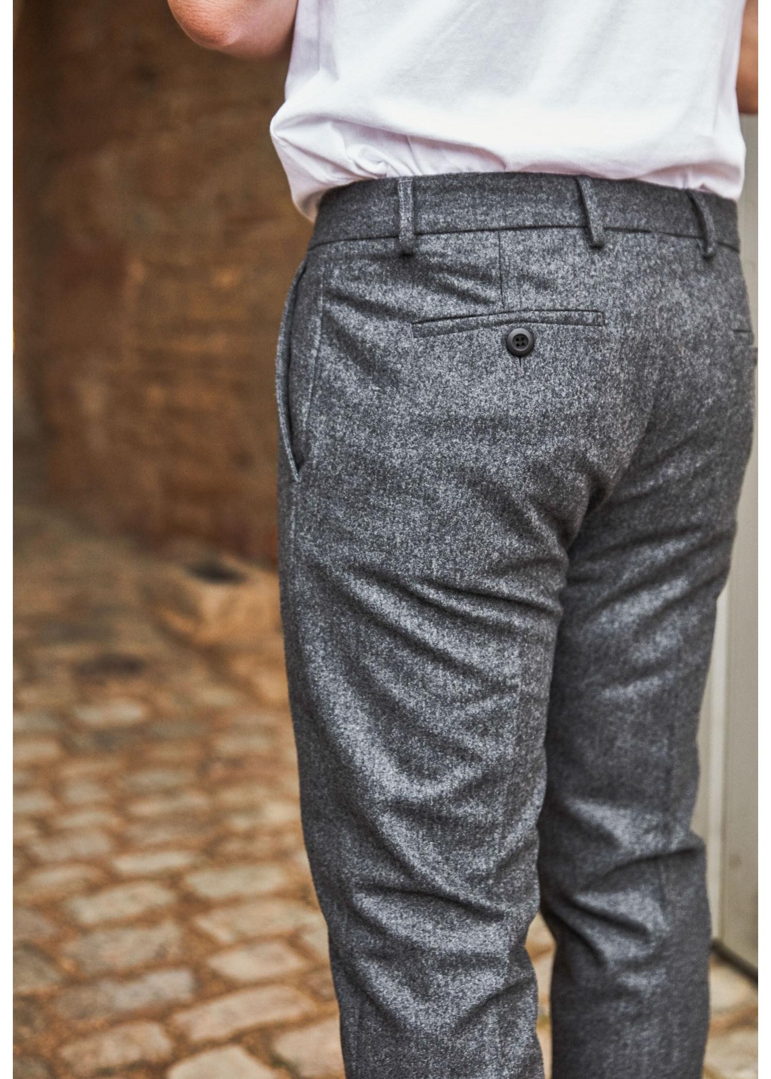 Pantalon Relax Gris 100% Laine