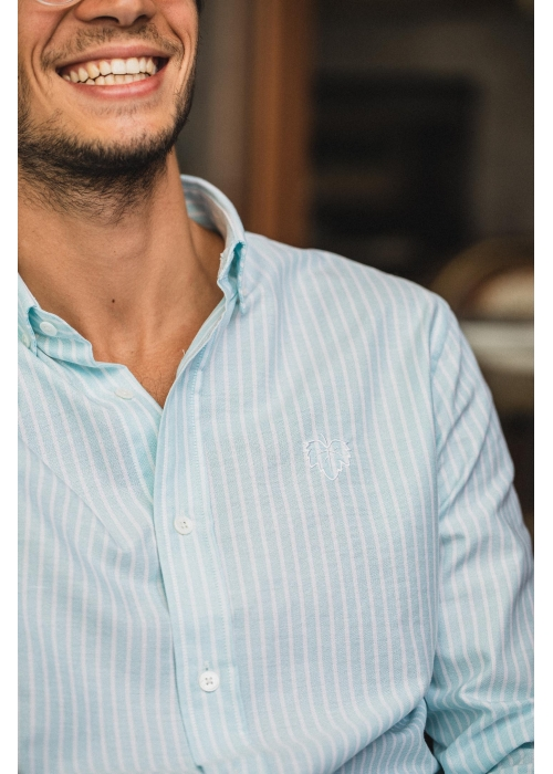 Chemise Oxford Rayée Turquoise