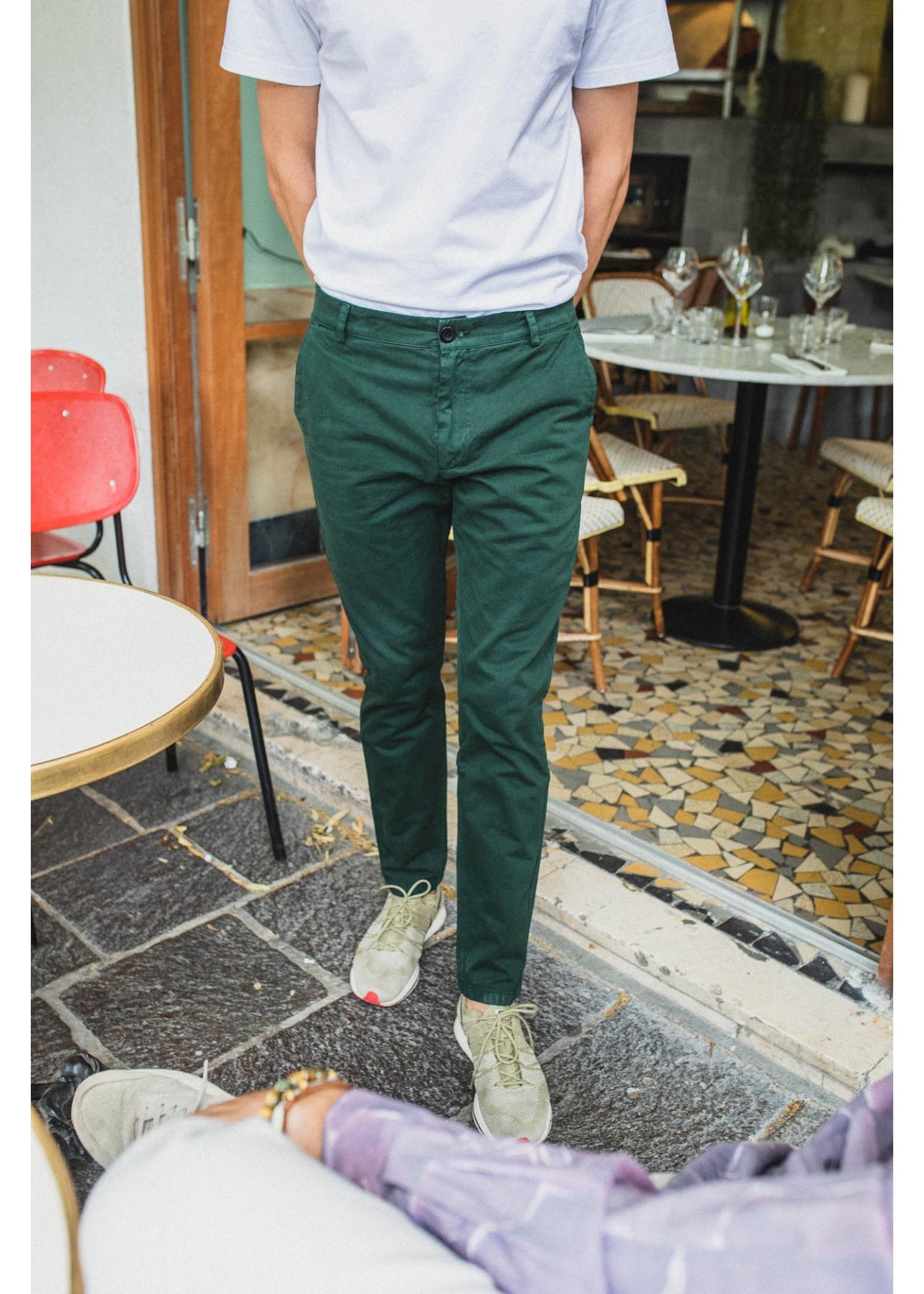 Pantalon Chino Vert Bouteille