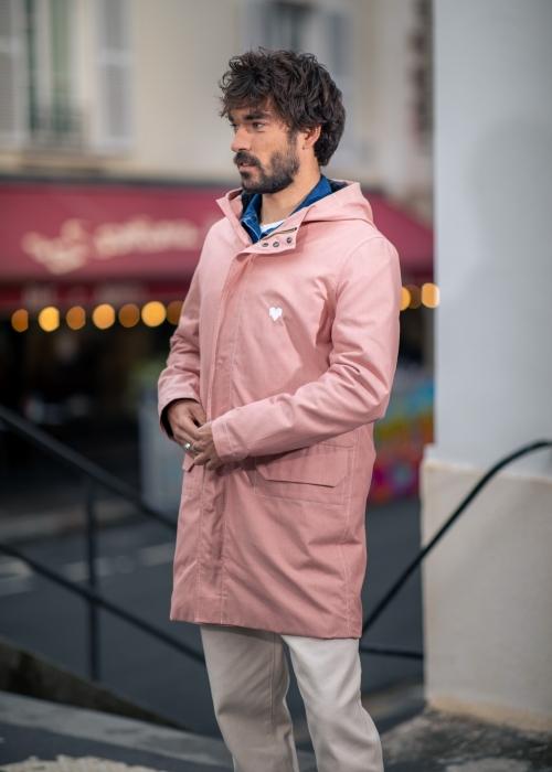 Parka à capuche rose